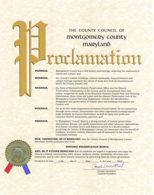 County Council of Maryland Proclamation 2015