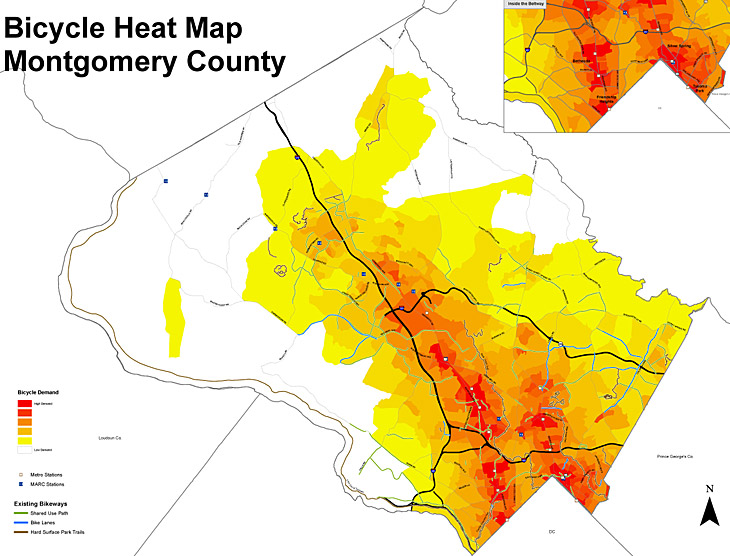 Bicycle Heat Map Montgomery County
