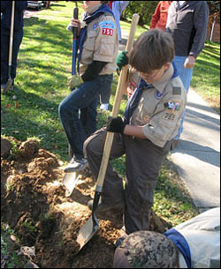 Members of Cub Scout troop #759 helped plant trees recently as part of a project.